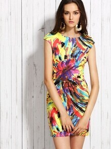Multicolor Abstract Flower Print Sheath Dress
