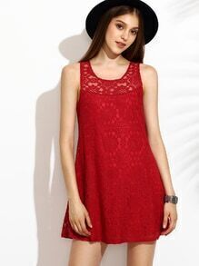 Red Cutout Back Lace Tank Dress