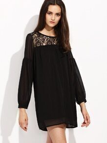 Black Lace Yoke Drop Shoulder Shift Dress