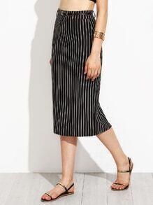 Black Vertical Striped Pencil Skirt