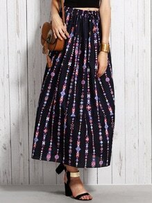 Navy Tribal Print Drawstring A-Line Skirt