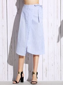 Blue Vertical Striped Knotted Button Front Wrap Skirt