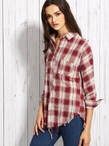 Burgundy Plaid High Low Raw Hem Shirt