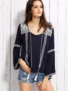 Navy Tassel Tie Embroidered Blouse