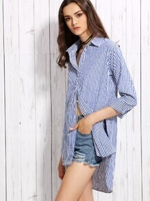 Blue Vertical Striped High Low Blouse