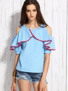 Blue Open Shoulder Contrast Trim Ruffle Top