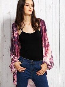 Purple Tie Dye Print Chiffon Kimono