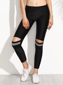 Black Striped Knee Ripped Leggings