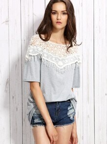 Heather Grey Fringe Crochet Yoke Top