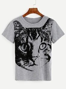 Heather Grey Cat Print T-shirt
