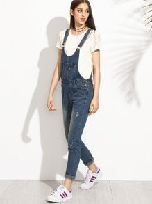 Blue Distressed Bleach Wash Skinny Overall Jeans