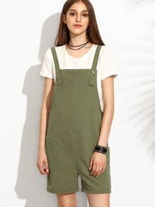 Olive Green Utility Overall Shorts With Side Pocket