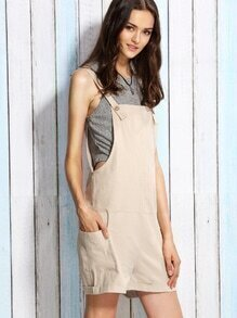 Beige Utility Overall Shorts With Side Pocket