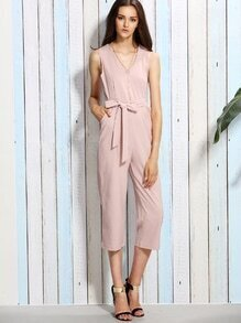 Pink Self Tie Sleeveless Jumpsuit