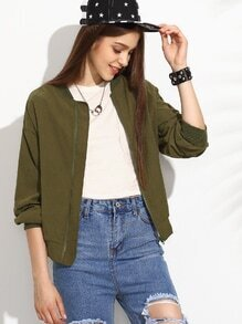 Olive Green Drop Shoulder Bomber Jacket With Zip Pocket