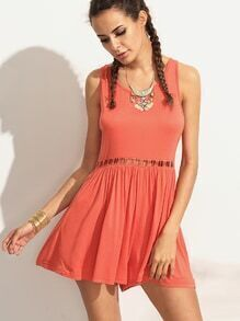 Orange Hollow Out Open Back Romper