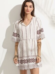 White Tribal Print Tie Neck Fringe A Line Dress