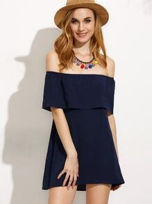 Navy Off The Shoulder Layered Dress