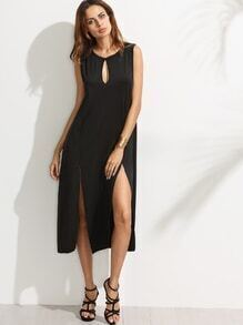Black Keyhole Neck High Split Dress