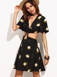 Black Deep V Neck Flower Print Bell Sleeve Combo Dress