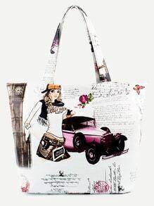 White Antique Car Print Tote Bag