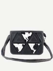 Black Cow Print Triangle Patch Flap Bag