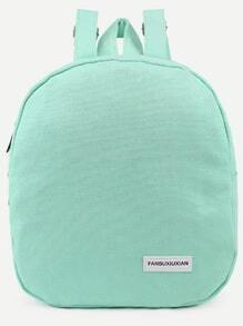 Green Zip Front Canvas Dome Backpack