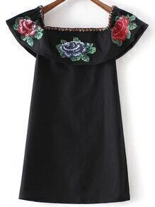 Black Off The Shoulder Flower Embroidery Dress