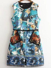 Multicolor Sleeveless Printed Dress