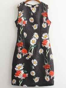 Black Sleeveless Floral Zipper Back Dress