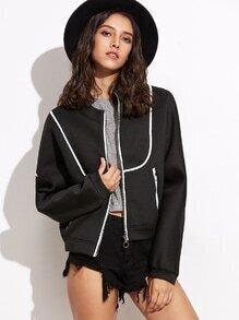 Black Stand Collar Pocket Jacket