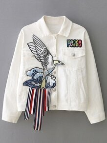 White Lapel Applique Button Jacket
