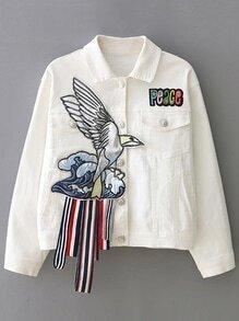 White Lapel Applique Button Jacket