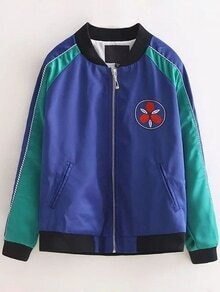 Royal Blue Crew Neck Embroidery Pocket Jacket
