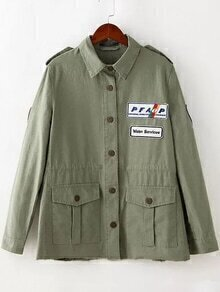 Army Green Pocket Applique Jacket