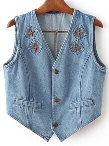 Blue Button Bow Back Denim Crop Vest