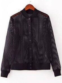 Black Button Front Hollow Jacket