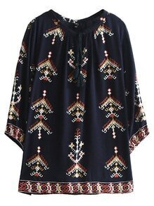 Navy Tie Neck Split Side Embroidery Blouse
