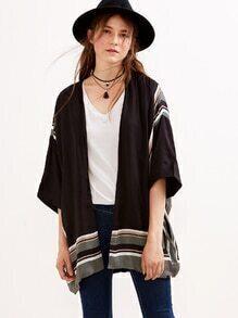 Black Printed Asymmetric Kimono