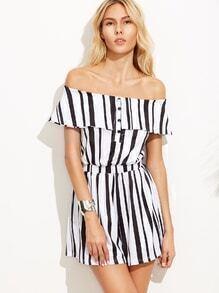 Black And White Lapel Stripe Siamese Trousers