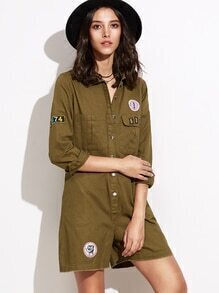 Army Green Lapel Pocket Applique Siamese Trousers