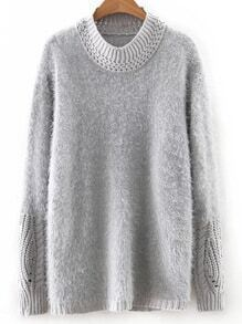 Grey Round Neck Plain Sweater