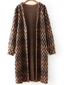 Brown Long Sleeve Chervon Print Cardigan