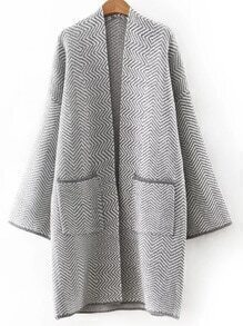 Grey Chervon Print Pocket Long Cardigan