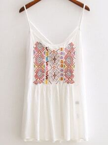 White Spaghetti Strap Embroidery Criss Cross Top