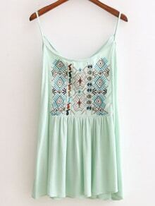 Green Spaghetti Strap Embroidery Criss Cross Top