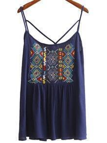 Navy Spaghetti Strap Embroidery Criss Cross Top
