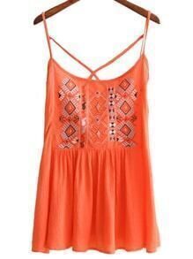 Orange Spaghetti Strap Embroidery Criss Cross Top