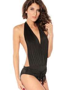 Black Halter Neck Tied Waist Backless One Piece Swimwear