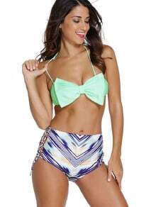 Bow Embellished Mix And Match Bandeau Bikini Set